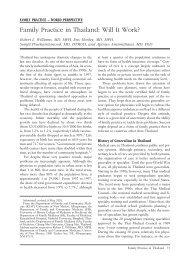 Family Practice in Thailand: Will It Work? - The Journal of the ...