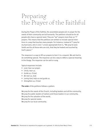 Preparing the Prayer of the Faithful - Saint Mary's Press