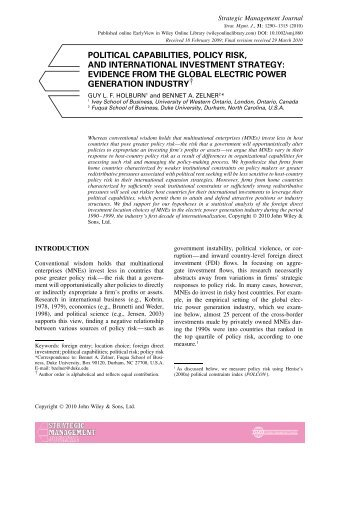 political capabilities, policy risk, and international investment ...