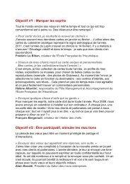 Objectif n°1 : Marquer les esprits Objectif n°2 : Être participatif ...
