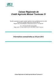 Résultats du 1er semestre 2012 - Crédit Agricole Toulouse 31