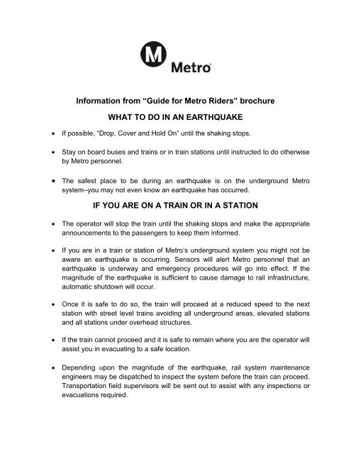 What to do in an Earthquake – If you are on a train or in