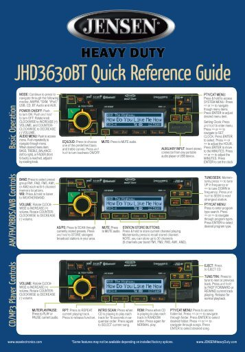JHD3630BT Quick Reference Guide - ASA Electronics