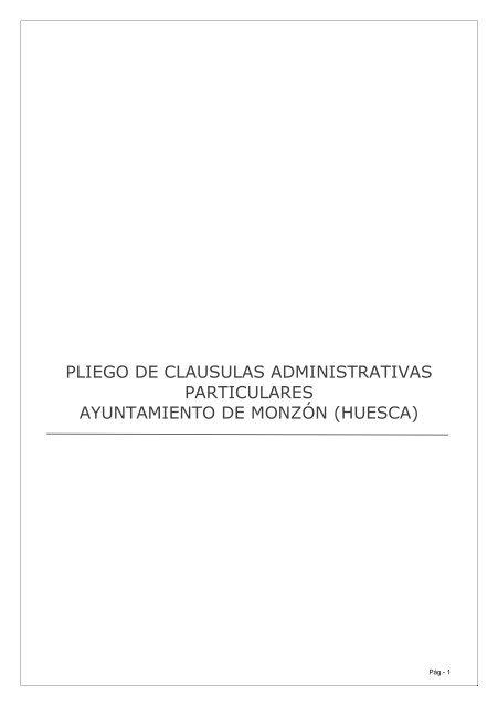 pliego de clausulas administrativas particulares ... - Inicio