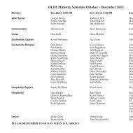 OLIH Ministry Schedule October - December 2012