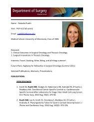 Natasha Rueth Year - Surgery - University of Minnesota