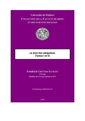 couverture savigny-1 - UFR Droit et Sciences Sociales - Université ...