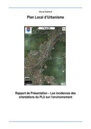 incidences orientations PLU sur environnement - Ville de Chaville