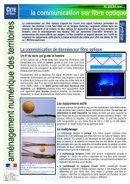 La communication sur fibre optique - Aménagement Numérique des ...