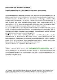 Hämatologie und Onkologie im Internet