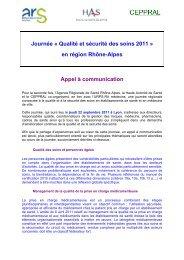 Qualité et sécurité des soins - ARS Rhône-Alpes
