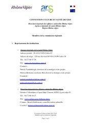 CONVENTION CULTURE ET SANTÉ 2013-2015 Direction ...