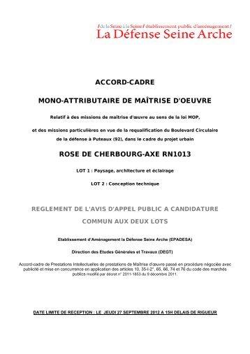 accord-cadre mono-attributaire de maîtrise d'oeuvre rose ... - Epadesa