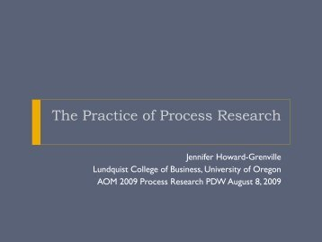 The Practice of Process Research - Process Research Methods