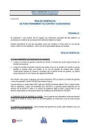 regles generales de fonctionnement du contrat d'assurance - Untec