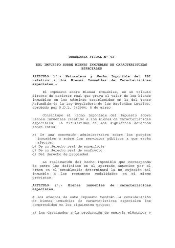 43 Impuesto sobre Bienes Inmuebles de características especiales