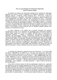 Pour un psychologue de l'Education Nationale dans le ... - SNUipp