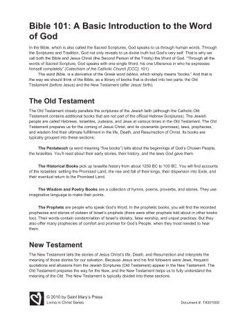 Bible 101: A Basic Introduction to the Word of God - Saint Mary's Press