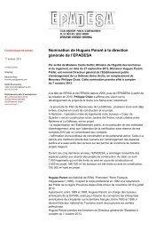 Nomination de Hugues Parant à la direction générale de l'EPADESA