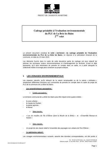 Document de cadrage préalable à l'évaluation environnementale ...