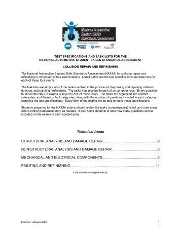 national automotive student skills standards assessment blueprint