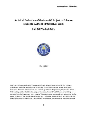 An Initial Evaluation of the Iowa DE Project to Enhance Students ...