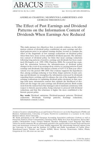 The Effect of Past Earnings and Dividend Patterns on the Information ...