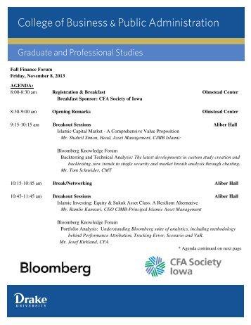 Fall Finance Forum Friday, November 8, 2013 AGENDA: 8:00-8:30 ...
