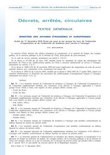 Indémnité d'expatriation au 1er janvier 2011 - SNUipp