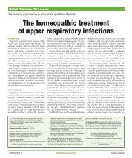 the homeopathic treatment of upper respiratory infections