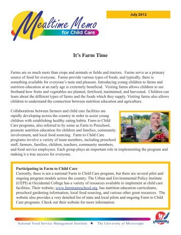 It's Farm Time - National Food Service Management Institute