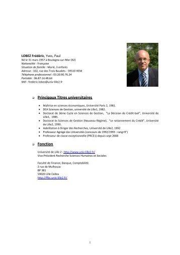 CV détaillé - Ecole supérieure des affaires