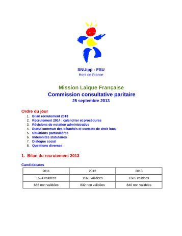 Compte rendu de la CCP MLF du 25 septembre - SNUipp