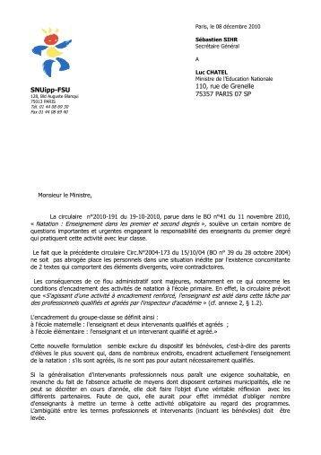 La lettre du SNUipp au ministre le 8 décembre