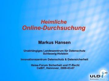 Markus Hansen: Heimliche Online-Durchsuchung - Unabhängiges ...