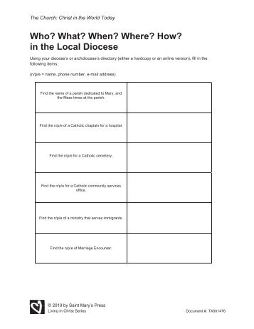 How? in the Local Diocese - Saint Mary's Press