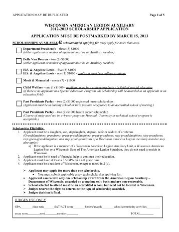 2002 wisconsin american legion auxiliary scholarship application