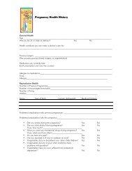 Pregnancy Health History form - Windsor Peak Press