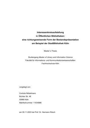 Master's Thesis - auf den Webseiten von Cordula Nötzelmann!
