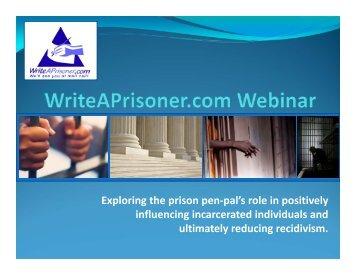 Why WriteAPrisoner? - National Organization of Forensic Social Work