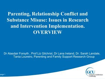 Parenting, Relationship Conflict and Substance Misuse - Helping ...