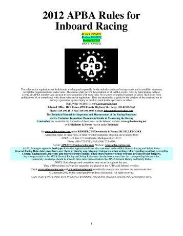 2012 APBA Rules for Inboard Racing