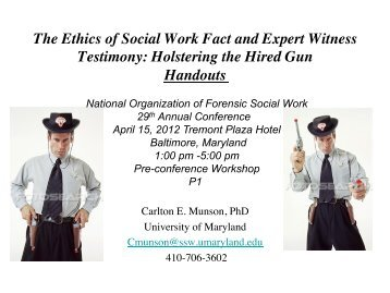 The Ethics of Social Work Fact and Expert Witness Testimony ...