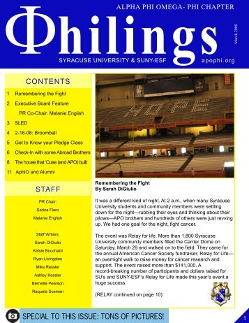 Spring 2008 Philings Issue 2 - Alpha Phi Omega - Phi Chapter