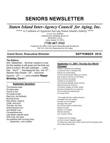 seniors newsletter - Staten Island Inter-Agency Council For Aging