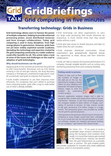 Transferring technology: Grids in Business - GridTalk Project