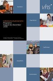 VolkshochschuleIserlohn : Programm August bis Dezember 2008