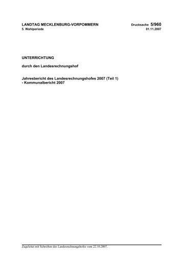 Jahresbericht 2007 - Landesrechnungshof Mecklenburg-Vorpommern