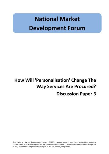 How will 'personalisation' change the way services are procured?