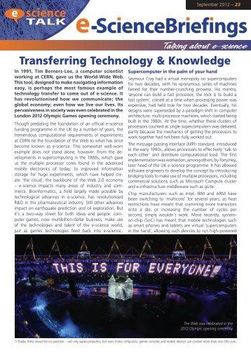 Transferring Technology & Knowledge - e-ScienceTalk